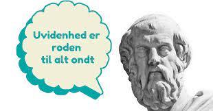 Buste af Platon med taleboble med teksten uvidenhed er roden til alt ondt