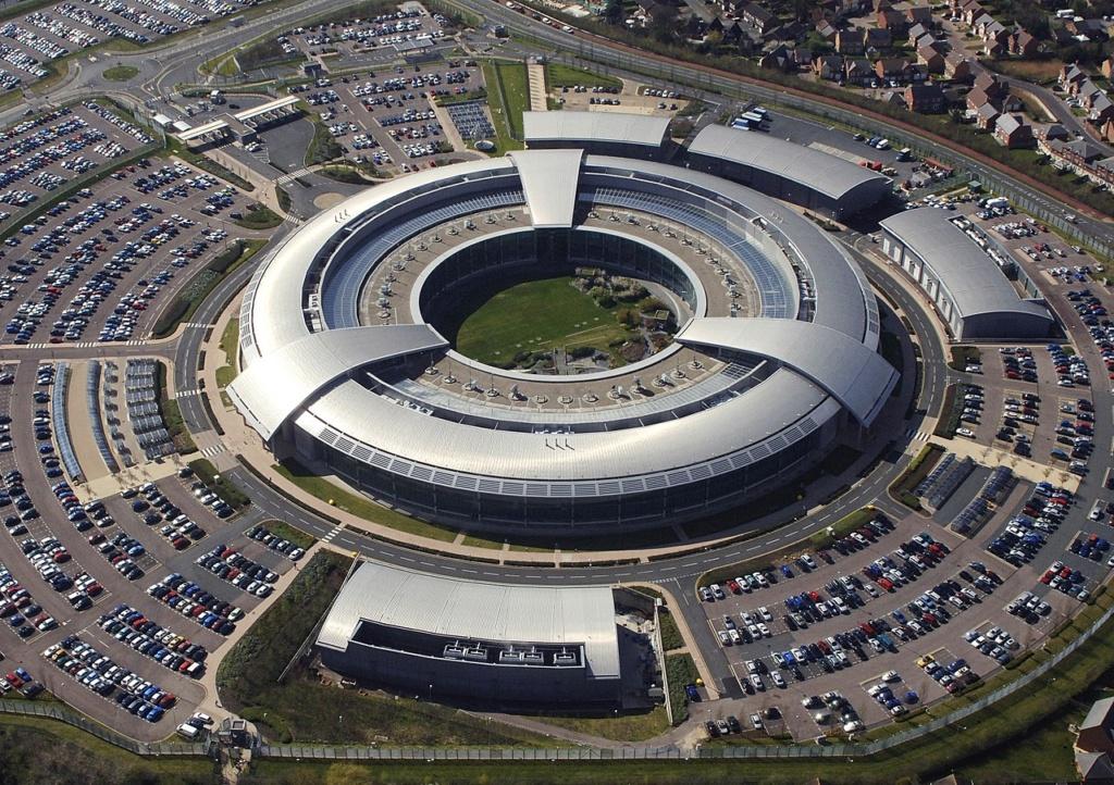 Luftfoto afEnglands aflytningscenter GCHQ, Cheltenham, Gloucestershire